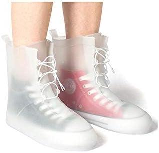 XHYRB 防水靴カバー、防水雨の季節アウトドア旅行靴カバー、男性と女性ノンスリップ太いウェアラブルスタイル、ブルー、ピンク、ホワイト 防水靴、防雨カバー、長靴 (Color : White, Size : XL)