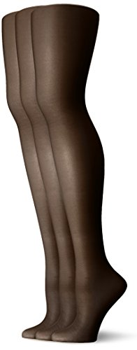 L'eggs Women's Energy 3 Pack All Sheer Panty Hose, Off Black, Q ()