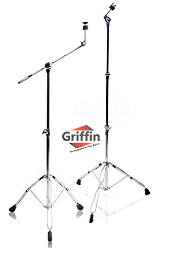 (Cymbal Boom Stand & Straight Cymbal Stand Combo (Pack of 2) by Griffin|Percussion Drum Hardware Set for Mounting & Holding Crash, Ride, Splash Cymbals|Arm Counterweight Adapter Kit|Double Braced Legs)