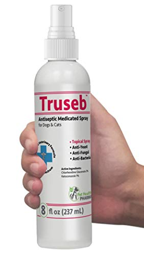 Truseb | #1 Chlorhexidine Spray for Dogs & Cats - Ketoconazole Anti Itch, Antiseptic, Antifungal, Antibacterial Medicated,Hot Spots, Ringworm, Yeast, Fungal Infections, Acne Pyode (Dog Skin Problems)
