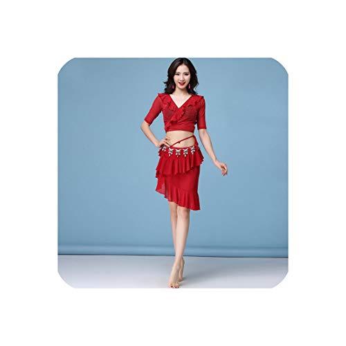 Belly Dance Costume Women Top+Skirt 2Pcs Dance Set Bellydance Suit Dancewear,Red,L]()