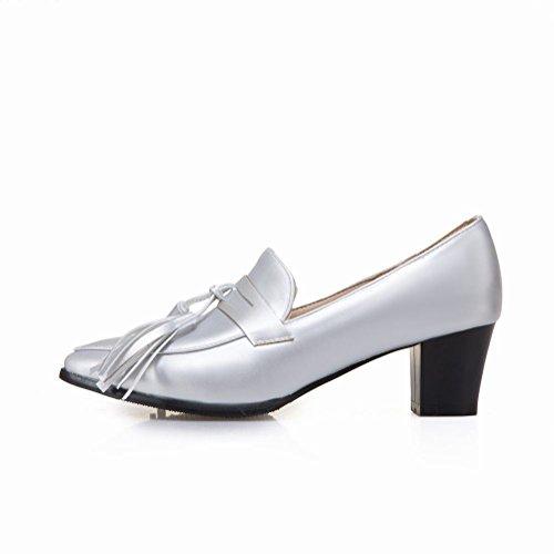 Carolbar Womens Pointed Toe Tassels Fringe Mid Heel Pumps Shoes Silver hxq0RpRP1W