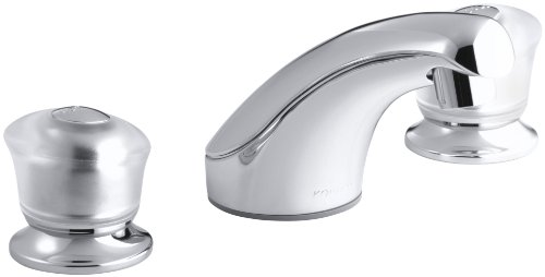 Widespread Acrylic Handles Lavatory - KOHLER K-15265-7-CP Coralais Widespread Lavatory Faucet with Sculptured Acrylic Handles, Less Drain, Polished Chrome