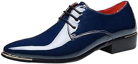 Sunny&Baby Zapatos de Charol de PU de los Hombres con Cordones Mocasines del Smoking Bloque del Talón Forrado Negocios Oxfords Resistente a la Abrasión
