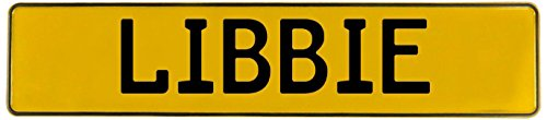 Libbie Wall (Vintage Parts Libbie Stamped Aluminum Street Sign Mancave Wall Art, Yellow)