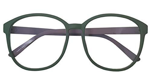 Oversized Big Round Horn Rimmed Eye Glasses Clear Lens Oval Frame Non Prescription (Green Gray 89010)