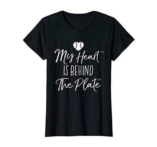 (Womens My Heart Is Behind The Plate T-Shirt Baseball Mom Gift Shirt)