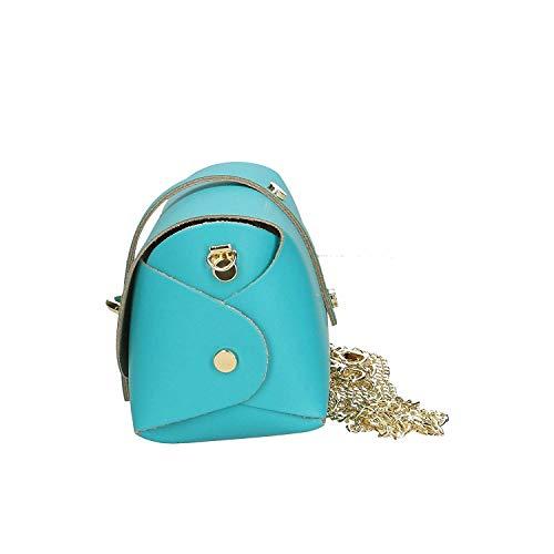 in pelle Turquoise in Brilliant Colore vera donna italy tracolla Dimensione Pink a 18x11x9 con cm Made Ancient Borsa spalla Rzx60xw