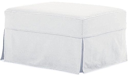 The Cotton Ottoman Slipcover Replacement. It Fits Pottery Barn PB Comfort Ottoman. Dense Cotton Sofa Footstool Cover (Comfort White)
