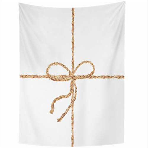 - Ahawoso Tapestry 50x60 Inch Fiber Brown Bow Watercolor Hand Drawn Bowknot Rope Vintage Tie Twine Jute String Design Closeup Wall Hanging Home Decor for Living Room Bedroom Dorm