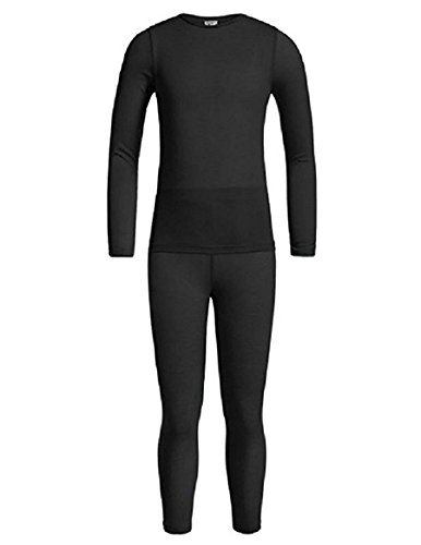 32 DEGREES Weatherproof Big Girl's Base Layer Thermal Shirt Long Underwear Set. Size: Small. Color: Black.