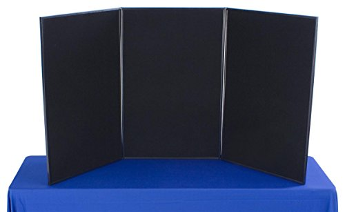 (Displays2go Tri Fold 3-Panel Display Board, 72 x 36, with Black Hook & Loop-Receptive Fabric and Write-on Whiteboard)
