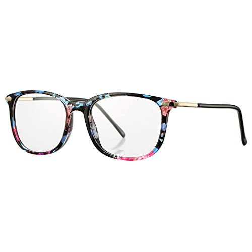 Non-prescription Horn Rimmed Clear Lens Hipster Eye Glasses Frame Metal Temple OpticaL Eyewear(Floral)