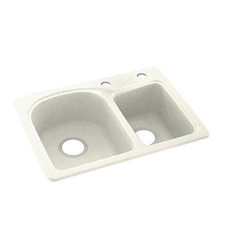 Swanstone KS02518DB.018-2C 2-Hole Solid Surface Kitchen Sink, 18