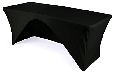 URBY 8 ft Open Back Tablecloth Spandex Fitted Rectangular Stretchable Black