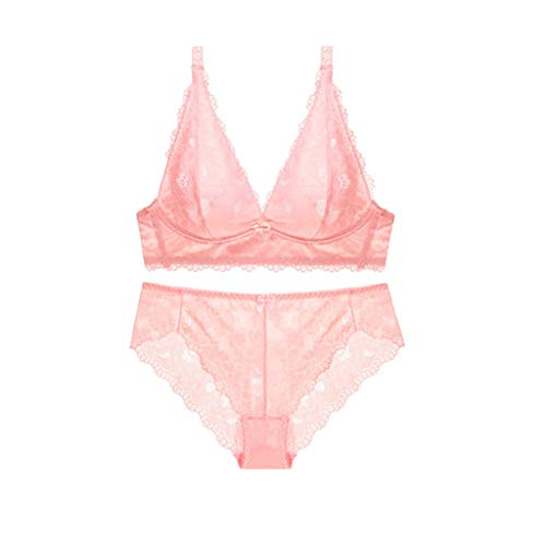 Women's Sexy Lingerie for Women Signature Lace Deep V Bralette Bra and Panty Babydoll Set (Pink, -