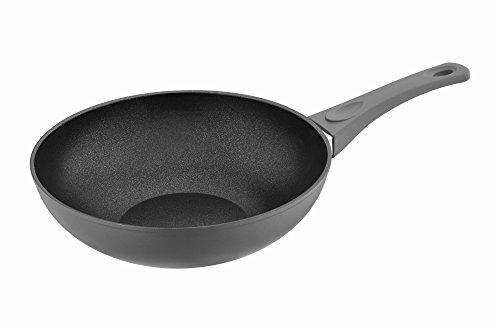 Saflon Titanium Nonstick 11 Inch Wok Pan Forged Aluminum Stir Fry Pan with PFOA Free Scratch Resistant Coating from England, Dishwasher - Wok Aluminum