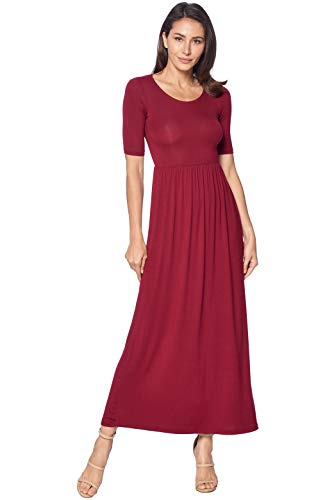82 Days Women's Casual 3/4 Sleeve Long Maxi Dress with Elastic Waist Made in USA - Burgundy L ()