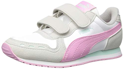 PUMA Unisex-Baby Cabana Racer Velcro Sneaker, White-Gray Violet-Pale Pink, 8 M US Toddler ()