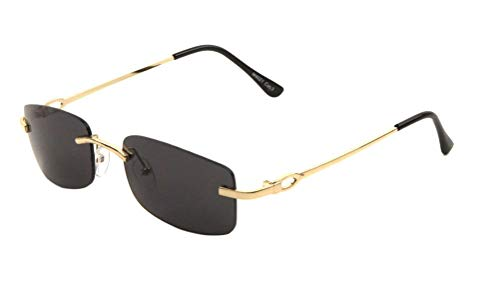 Bogart Slim Rimless Rectangular Luxury Sunglasses (Gold Metallic Frame w/Black Ear Piece, Black Super Dark) (Sunglasses Gold Luxury)