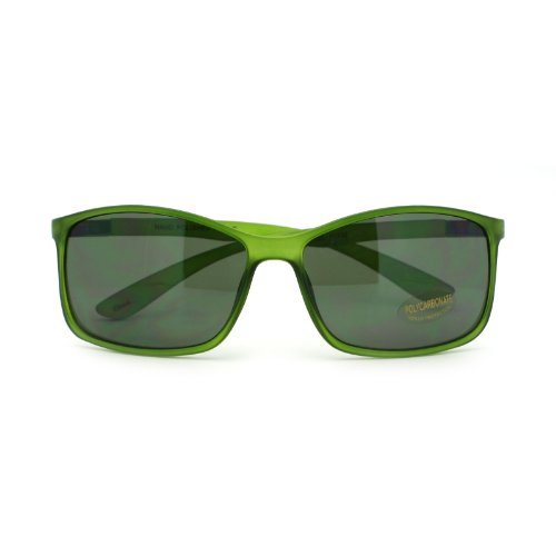 Mens Streamline Minimal Mod Thin Plastic Sport Rectangular Sunglasses - Cia Sunglasses