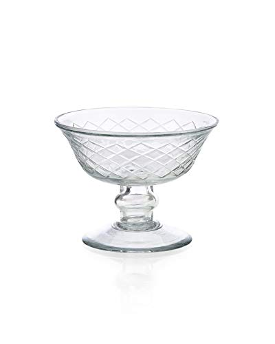 Serene Spaces Living Diamond Cut Pedestal Bowl, Measures 4.5 inches Diameter and 3.5 inches Height ()