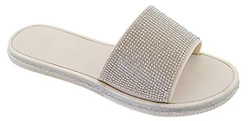 Babe Women's Rhinestone Jeweled Slip-on Slide Fashion Sandals (8, Silver)