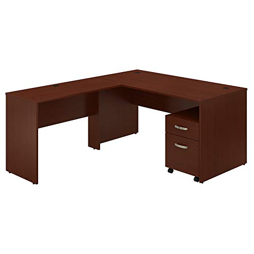 Bush Furniture Commerce 60W L Shaped Desk with Mobile File Cabinet in Autumn Cherry ()
