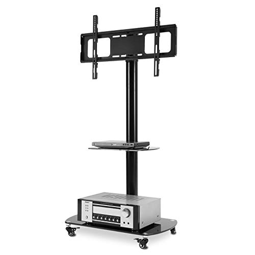 - Rfiver Black TV Cart Mobile TV Stand with Swivel Mount, Rolling Wheels and AV Shelves for Most 32 37 42 47 50 55 60 65 inch Flat Curved Screen TVs,Height Ajustable TF8001