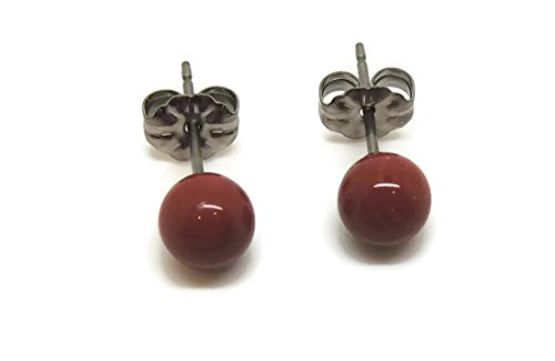Titanium Hypoallergenic Earrings with 6 MM Natural, Red Jasper For Sensitive Ears