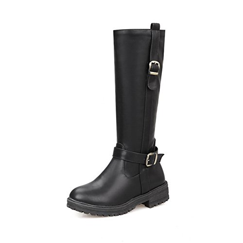 A&N Girls Square Heels Buckle Zipper Imitated Leather Boots Black