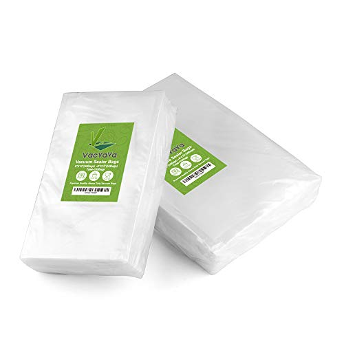 """Upgrade!! VacYaYa 100 Count Vacuum Sealer Bags 50 Each Size Pint 6"""" x 10"""" and Quart 8"""" x 12"""" for Food Saver, Seal a Meal Vac Sealers, Sous Vide Cooking Vaccume Safe, Heavy Duty Pre-Cut Storage Bag"""