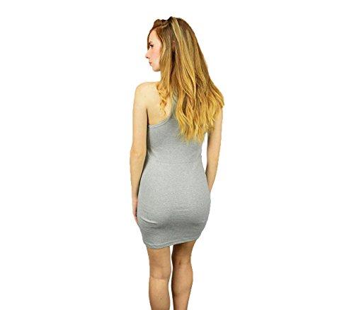 Vestitino mod. Riverside canotta lunga vestito donna long shirt estate elasticizzato. MEDIA WAVE store ® (Grigio)