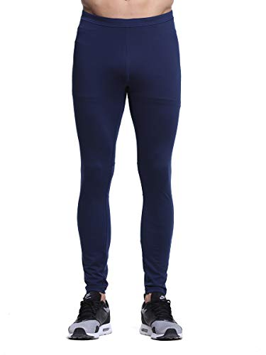 Truity Men's Performance Tight Stretchy Moisture-Wicking Mesh Quick-Dry Back Zip Pocket Leggings Navy