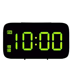 Fan-Ling 1PCS Alarm Clock,Large LED Digital Alarm Snooze Clock,Voice Control Time Display 5 Screen,Designed exquisitely, Durable (Green)