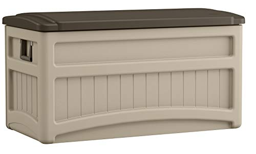 - Suncast 73 Gallon Patio Storage Box - Waterproof Outdoor Storage Container for Patio Furniture, Pools Toys, Yard Tools - Store Items on Deck, Porch, Backyard - Taupe