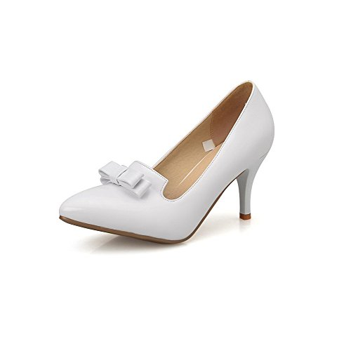 Pointed Toe Pumps Women's White Pull Closed Leather on Shoes Solid High Heels Patent WeenFashion HvwU8w