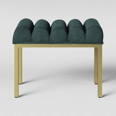 Lyre Chanel Tufted Ottoman with Brass Legs Velvet Teal - Opalhouse153; Teal by opalhouse™