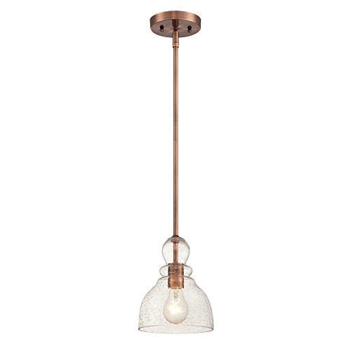 Light Pendant Copper (Westinghouse Lighting 6356400 Adjustable Indoor Mini-Pendant Light, Washed Copper Finish with Handblown Clear Seeded Glass)