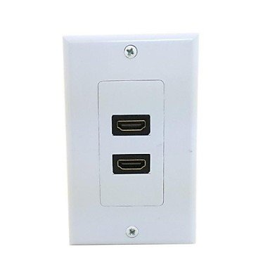 Dual Port HDMI 1.4 HDTV Audio Video Wall Face Plate Panel 118mm 120mm Rectangle Type ()