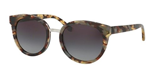 Tory Burch TY7062 Womens Havana Frame Grey Lens Round Sunglasses - - Sunglasses Tory Havana Burch