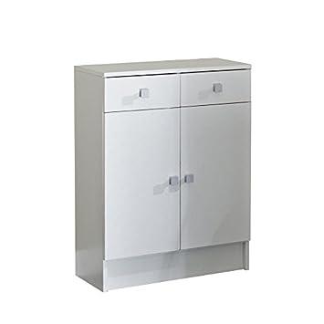 Element bas-2 portes-2 tiroirs-Corps blanc-façades blanches-6038A2121A17