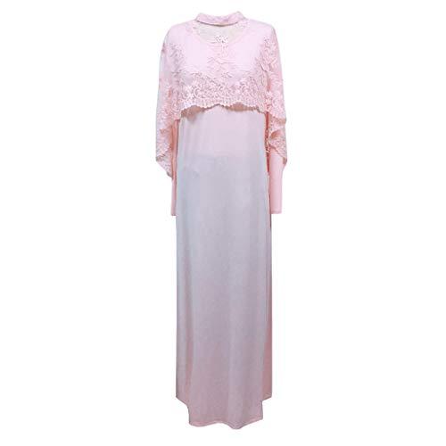 (kaifongfu Muslim Dress for Women, Ladies Solid Color Dress Shawl Kaftan Long Dress Muslim Islamic Patchwork Clothing(Pink,M))