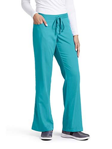 Grey's Anatomy Women's Junior-Fit Five-Pocket Drawstring Scrub Pant - Medium - Teal