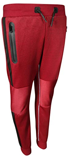 XS Sport Boy\'s Sport-Tech Active Fleece Jogger Sweatpant, Red/Black Panel, Size 12'