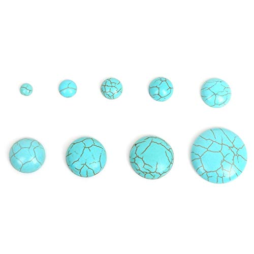 Calvas 6-25mm Synthetic White/Blue Half Round Natural Calaite Flat Back Cabochons Beads Fittings Stone Beads for Jewelry Making DIY - (Color: Turquoise, Item Diameter: 20mm 10pcs)