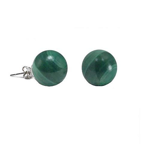 - Simple Gemstone Green Malachite Round Ball Stud Earrings For Women 925 Sterling Silver 8MM