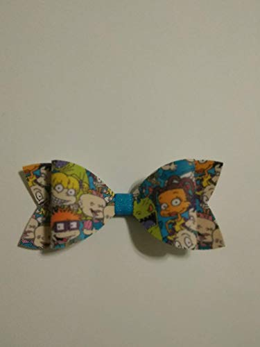 Rugrats Hair bow, Faux Leather hair bow, 90s cartoon bow, mini hair bow, 4