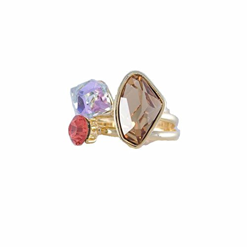 Amanda Blu Women's Light Colorado Topaz And Padparadscha Stackable Trio Rings Gold Plated 9 - Light Colorado Topaz Gold Plated