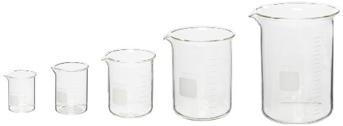 - Corning Pyrex 5 Piece Glass Graduated Low Form Griffin Beaker Assortment Pack, with Double Scale